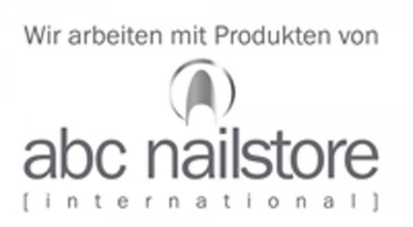 Schaufensteraufkleber abc nailstore logo weiß, quer 28 x 15 cm inkl. Anleitung