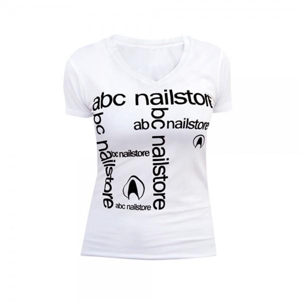 T-Shirt Damen weiß mit Flexdruck, Gr.L
