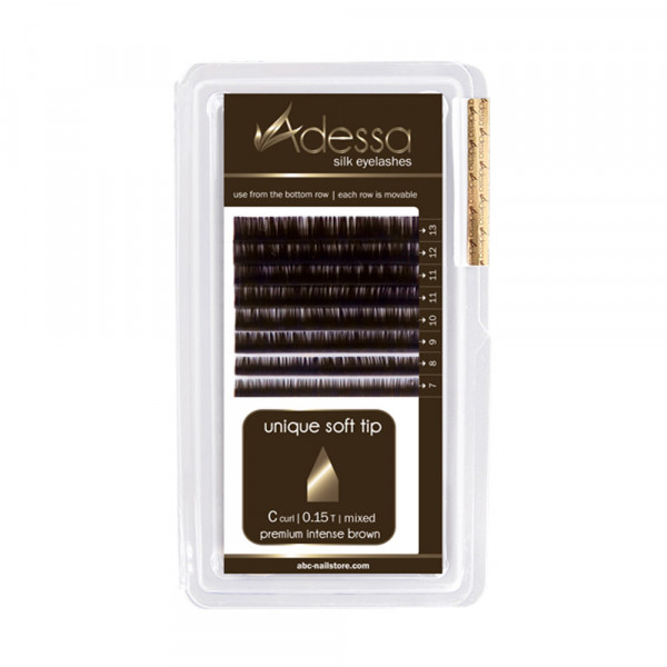 Adessa Silk Lashes premium intense brown shiny mixed tray, C curl, 0,15/7 - 13mm