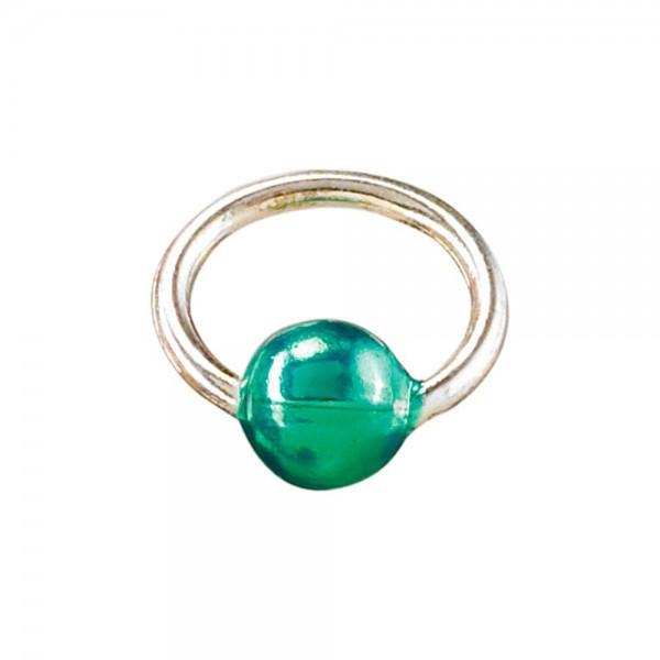 Piercingring mini silber/grün