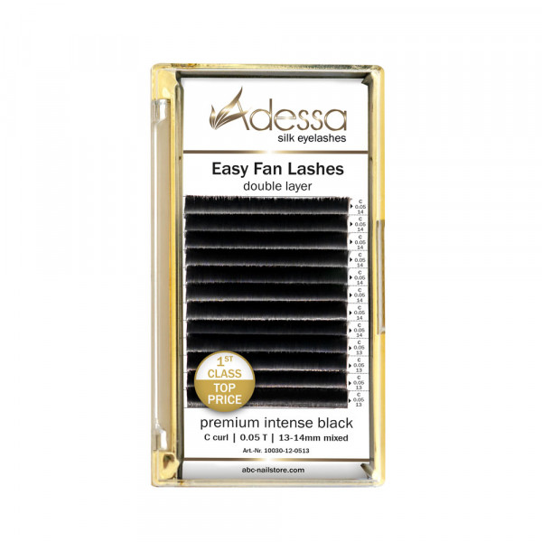 C curl, 0,05/13 + 14 mm Adessa Easy Fan Lashes premium intense black