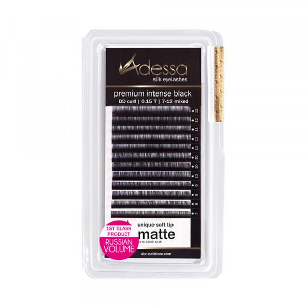 DD curl, mixed 7 - 12 mm Adessa Silk Lashes premium intense black matte