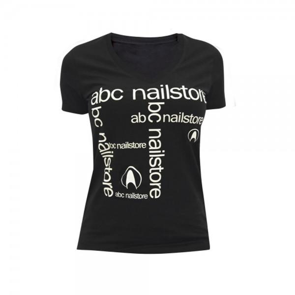 T-Shirt Damen schwarz mit Flexdruck, Gr.M
