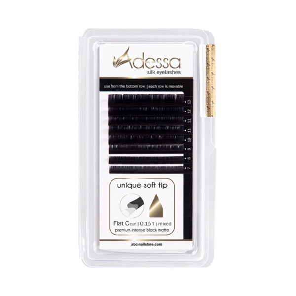 B curl, mixed 7 - 13mm Adessa Silk Lashes premium intense black matte