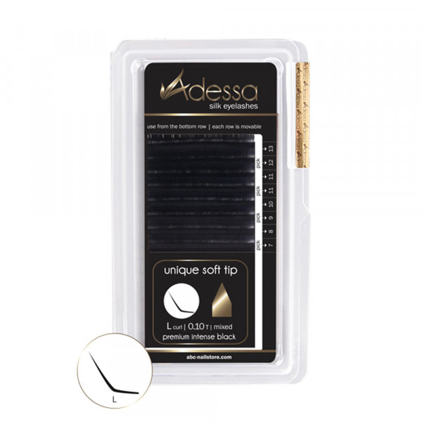 L-Curl, mixed 0,10/7-13mm Adessa Silk Lashes premium intense black