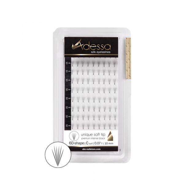 Adessa Silk Lashes premium 6D shape, tray C curl, 0,07