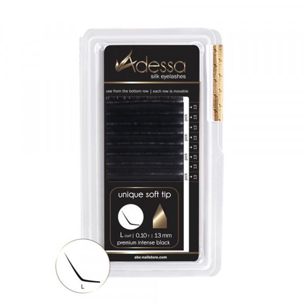 L-Curl, 0,10 Adessa Silk Lashes premium intense black