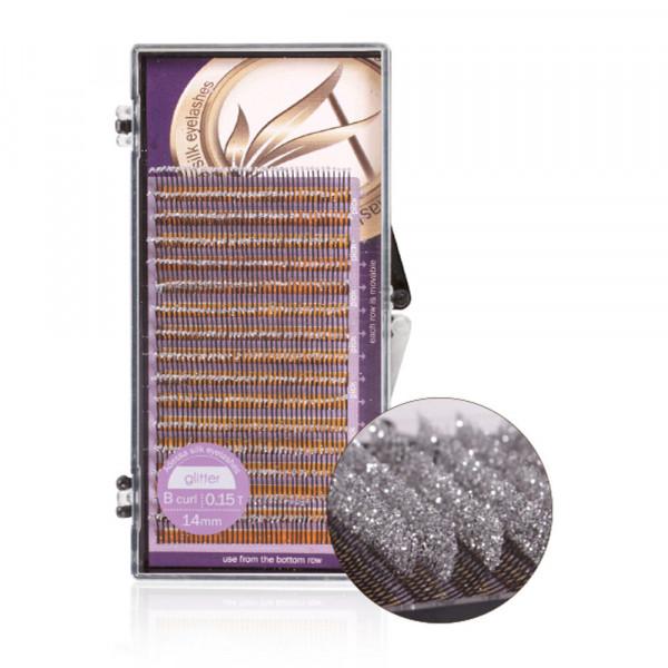 Adessa silk eyelashes glitter Tray silver, B curl, 0,15