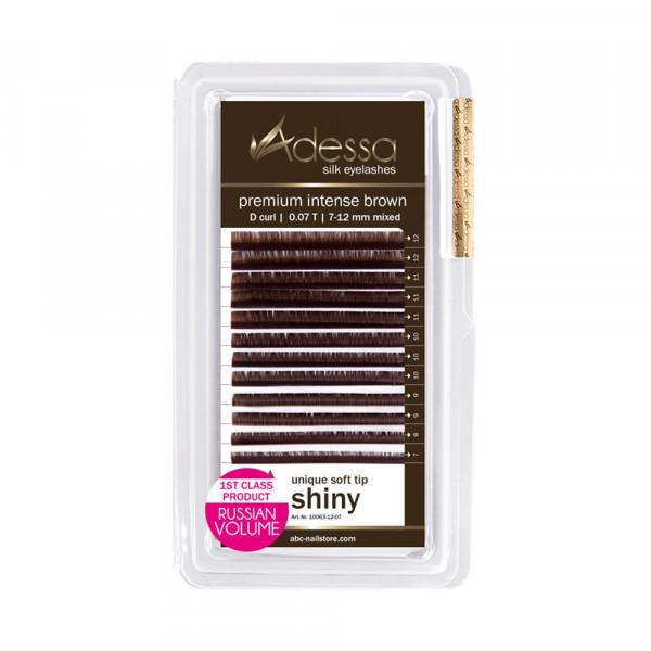 Adessa Silk Lashes premium intense brown shiny mixed tray, D curl, 0,07/7 - 12 mm