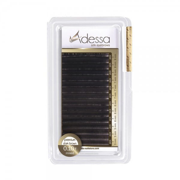 Adessa silk eyebrow extensions black, mixed tray 0,10