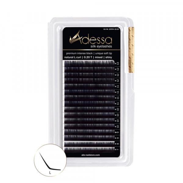 L-Curl, mixed 7-13mm Adessa Silk Lashes premium intense black