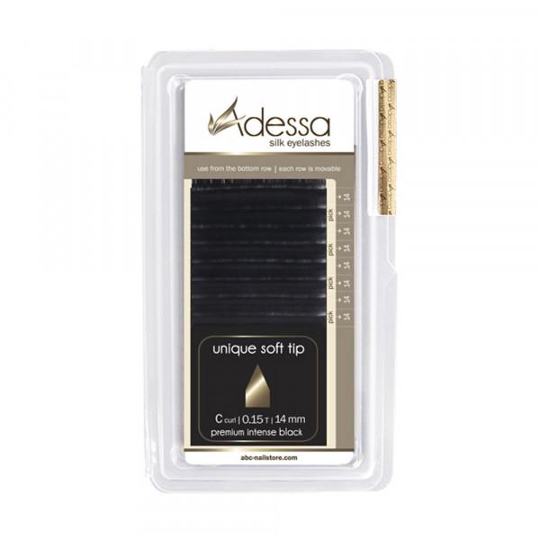 C curl, 0,15/14 mm Adessa Silk Lashes premium intense black