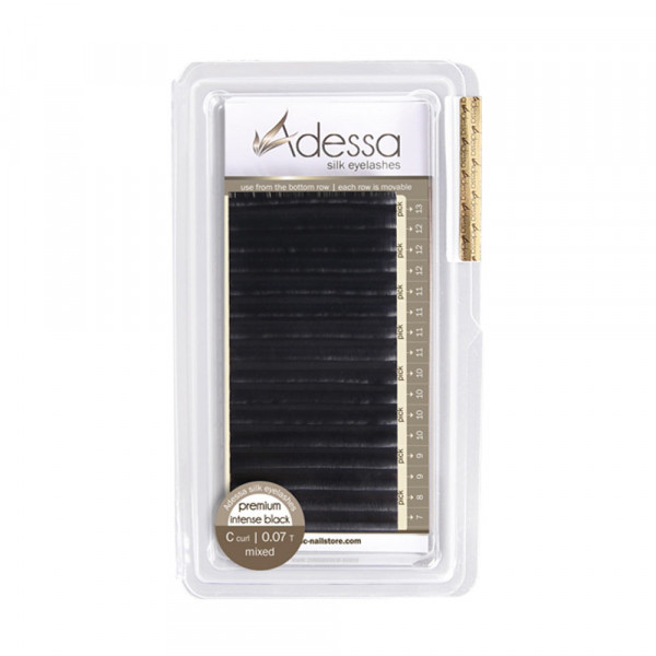 C curl, mixed 0,07/7 - 13mm Adessa Silk Lashes premium intense black