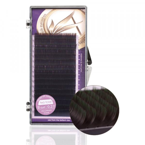 Adessa silk eyelashes two tone Tray mixed, black - green, B curl, 0,2/12+14mm
