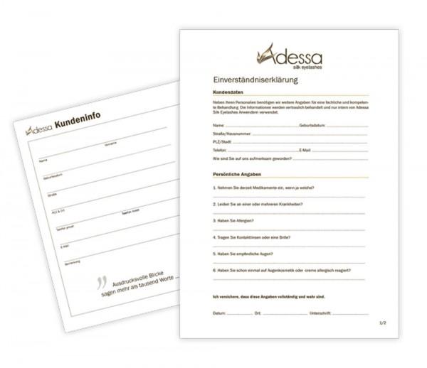 SET Karteikarten und Einverständniserklärung für die Adessa Silk Eyelash Behandlung, je 50 Stück