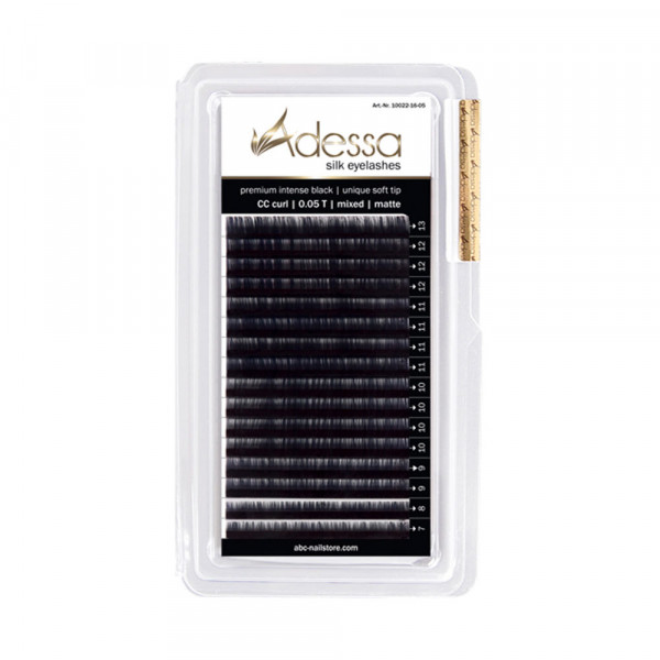 CC curl, mixed 0,05/7 - 13mm Adessa Silk Lashes premium intense black matte