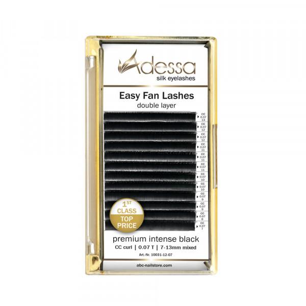 CC curl, mixed0,07/7 - 13mm Adessa Easy Fan Lashes premium intense black