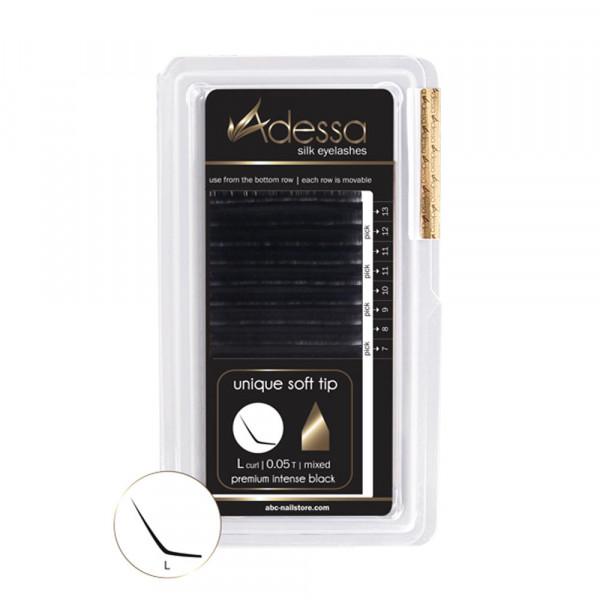 L-Curl, mixed, 0,05/7-13mm Adessa Silk Lashes premium intense black