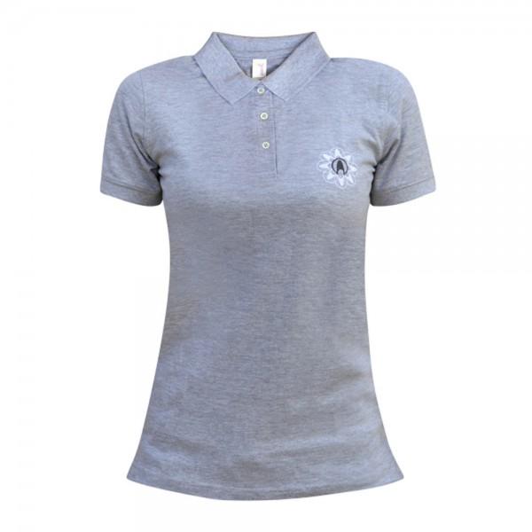 Poloshirt Damen grau, mit abc nailstore-Logo, Kurzarm, Gr. S