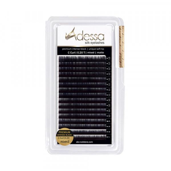 C curl, mixed 7 - 13mm Adessa Silk Lashes premium intense black matte