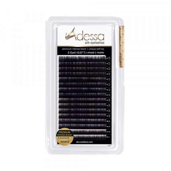 C curl, mixed 7 - 13mm Adessa Silk Lashes premium intense black matte