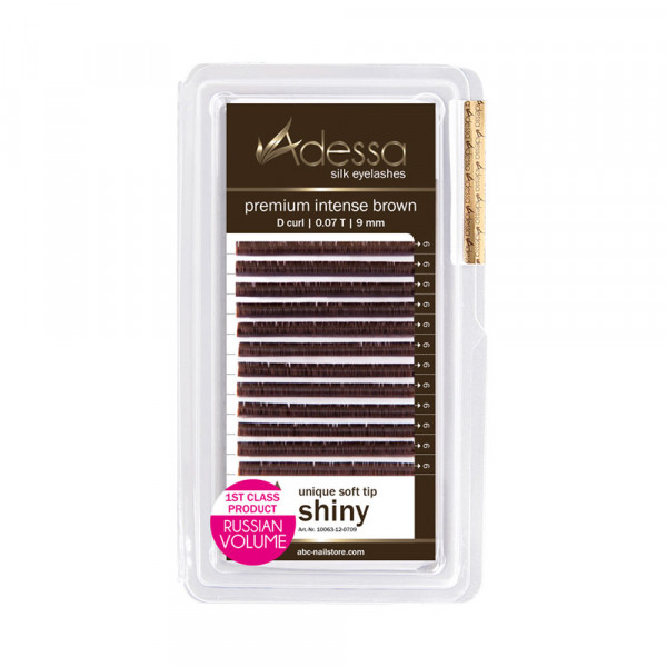Adessa Silk Lashes premium intense brown shiny tray, D curl, 0,07