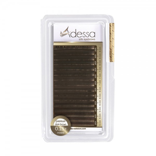 Adessa silk eyebrow extensions, dark brown mixed tray 0,15