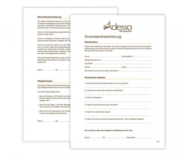 Einverständniserklärung zur Adessa Silk Eyelashes Behandlung, 50 Stück