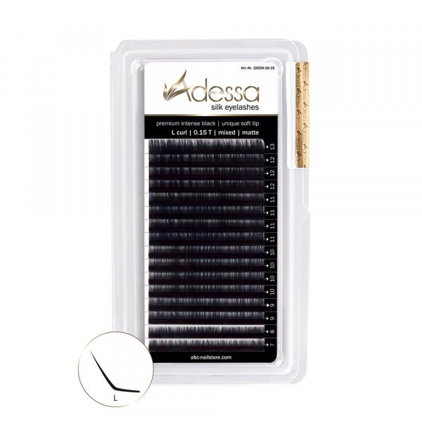 L-Curl, mixed, 0,15/7-13mm Adessa Silk Lashes premium intense black matte