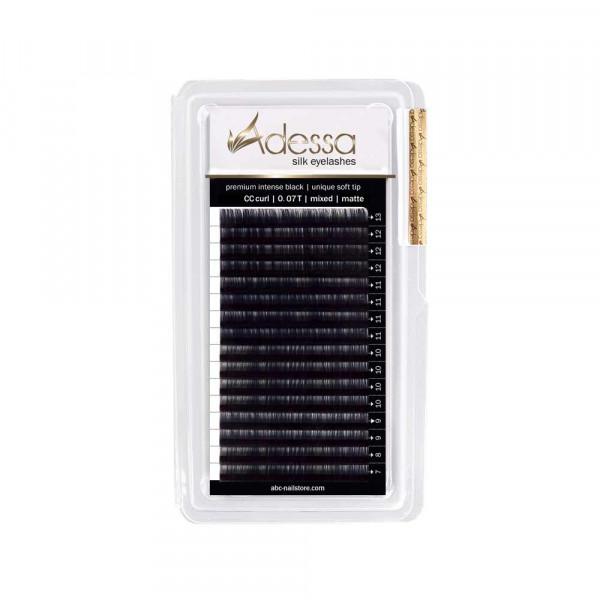 CC curl, mixed 7 - 13mm Adessa Silk Lashes premium intense black matte