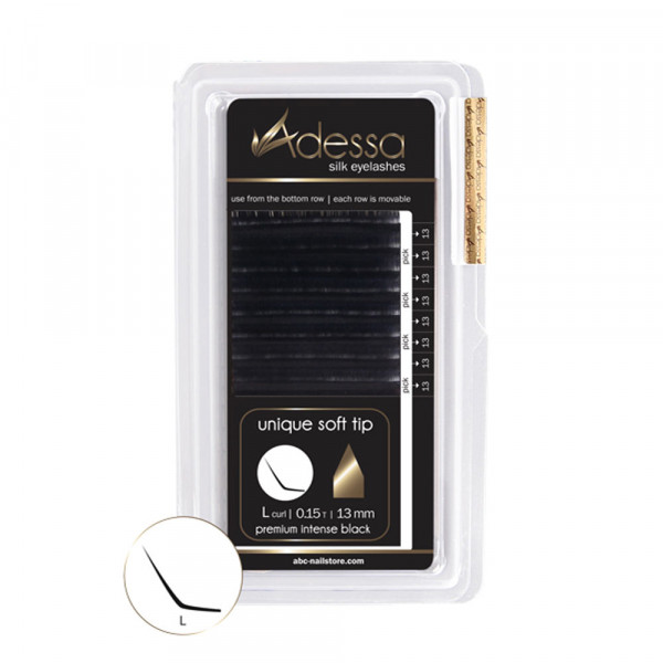 L-Curl, 0,15 Adessa Silk Lashes premium intense black