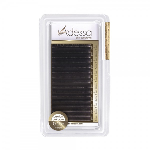 Adessa silk eyebrow extensions black, mixed tray 0,15