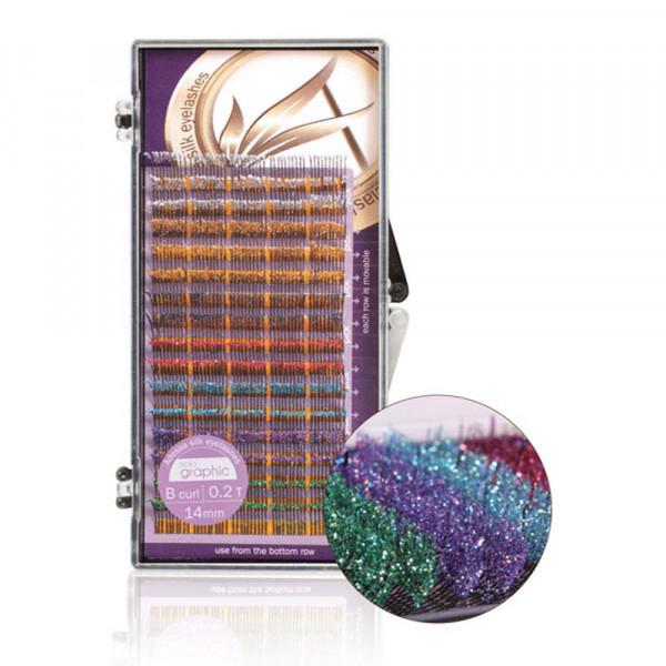 Adessa silk eyelashes holographic Tray mixed, B curl, 0,2/14mm