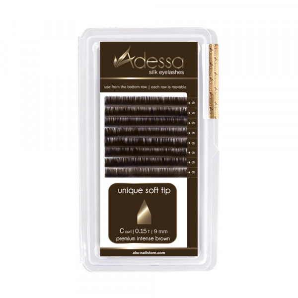 Adessa Silk Lashes premium intense brown shiny tray, C curl, 0,15
