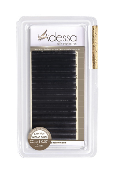 CC curl, 0,07/12mm Adessa Silk Lashes premium intense black, 12mm