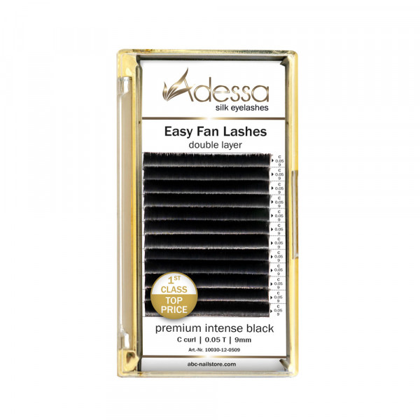C curl, 0,05/9 mm Adessa Easy Fan Lashes premium intense black